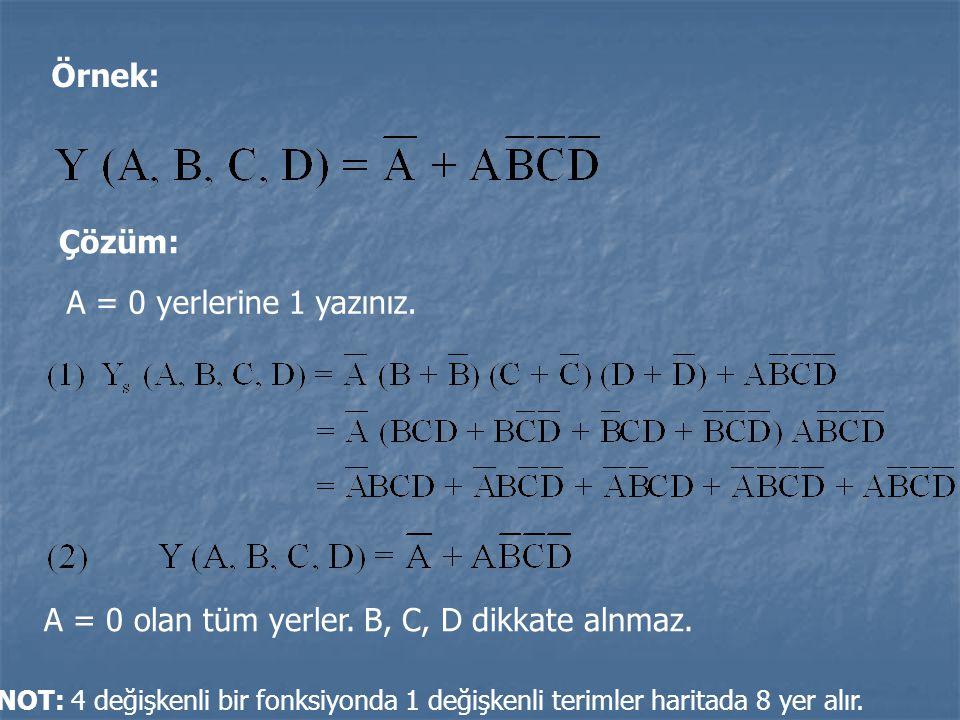 Örnek: Çözüm: A = 0 yerlerine 1 yazınız. A = 0 olan tüm yerler. B, C, D dikkate alnmaz. NOT: 4 değişkenli bir fonksiyonda 1 değişkenli terimler harita