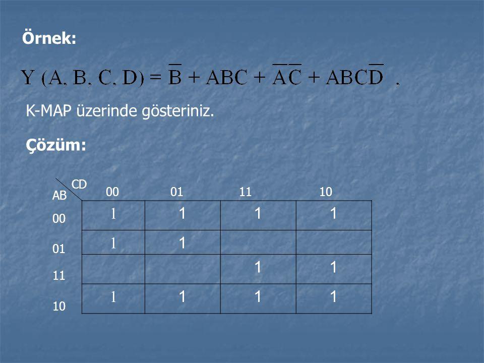 Örnek: K-MAP üzerinde gösteriniz. Çözüm: 1 111 1 1 11 1 111 CD AB 00 01 11 10 00011110