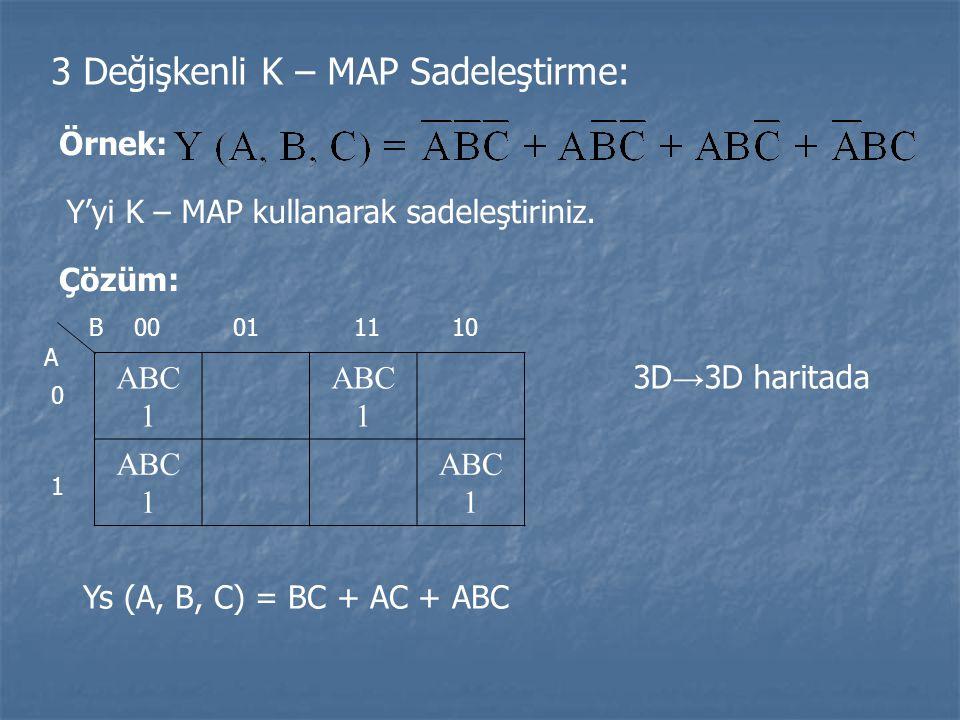 3 Değişkenli K – MAP Sadeleştirme: Örnek: Y'yi K – MAP kullanarak sadeleştiriniz. Çözüm: ABC 1 ABC 1 ABC 1 ABC 1 00011110 0 1 B A 3D → 3D haritada Ys