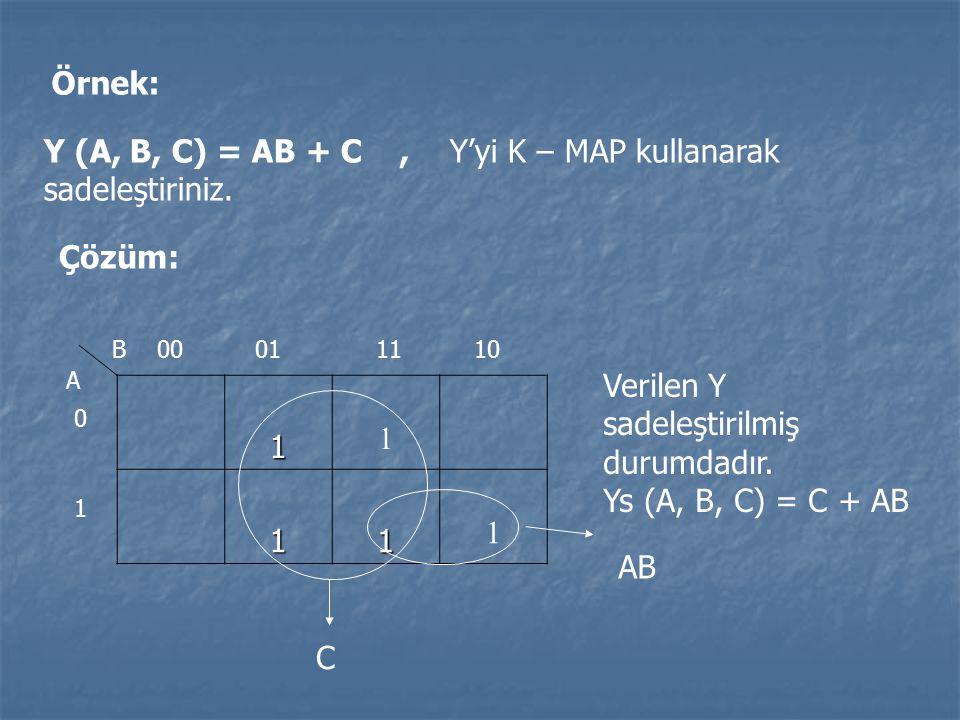 Örnek: Y (A, B, C) = AB + C, Y'yi K – MAP kullanarak sadeleştiriniz. Çözüm: 1 1 11 1 00011110 0 1 B A Verilen Y sadeleştirilmiş durumdadır. Ys (A, B,