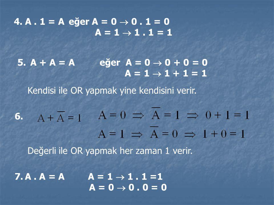 4. A. 1 = Aeğer A = 0  0. 1 = 0 A = 1  1. 1 = 1 5. A + A = Aeğer A = 0  0 + 0 = 0 A = 1  1 + 1 = 1 Kendisi ile OR yapmak yine kendisini verir. Değ
