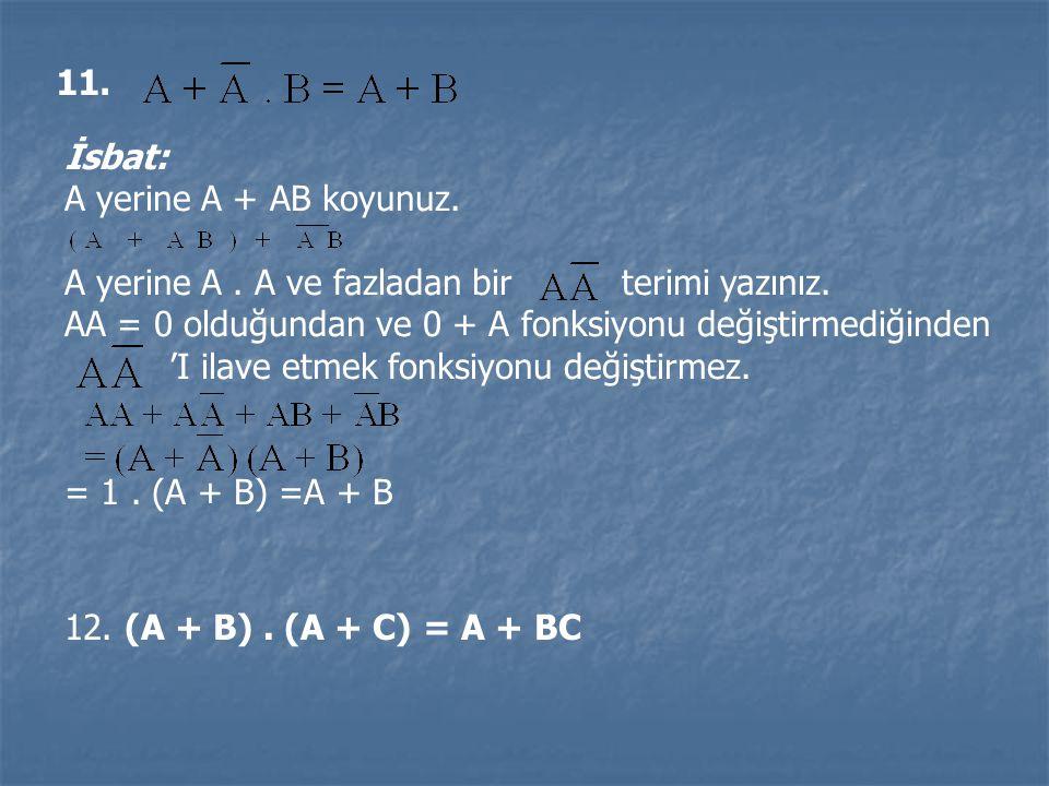 11. 12. (A + B). (A + C) = A + BC İsbat: A yerine A + AB koyunuz. A yerine A. A ve fazladan bir terimi yazınız. AA = 0 olduğundan ve 0 + A fonksiyonu