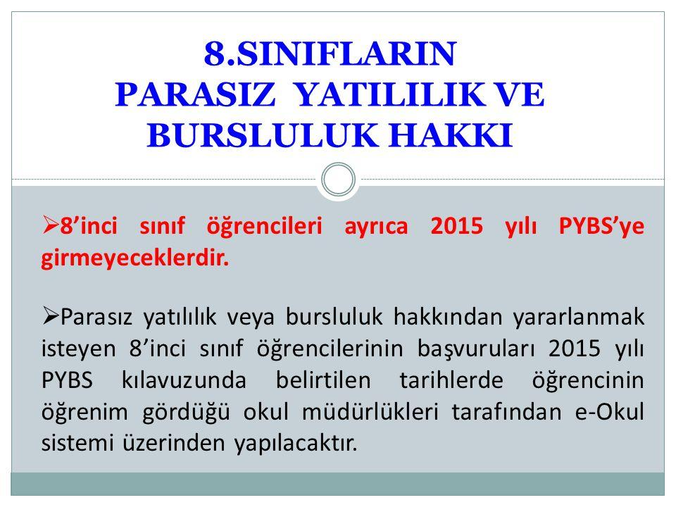8.SINIFLARIN PARASIZ YATILILIK VE BURSLULUK HAKKI  8'inci sınıf öğrencileri ayrıca 2015 yılı PYBS'ye girmeyeceklerdir.
