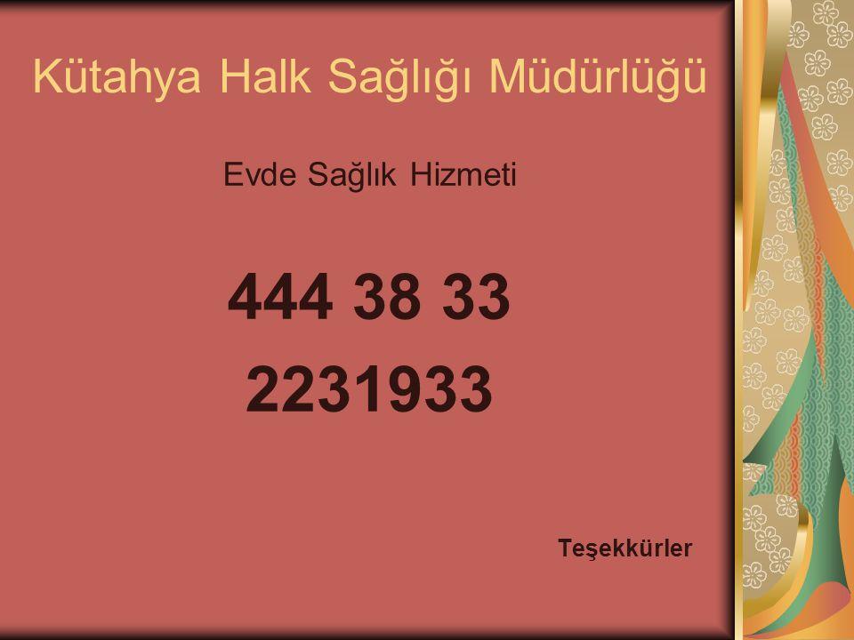 Kütahya Halk Sağlığı Müdürlüğü Evde Sağlık Hizmeti 444 38 33 2231933 Teşekkürler