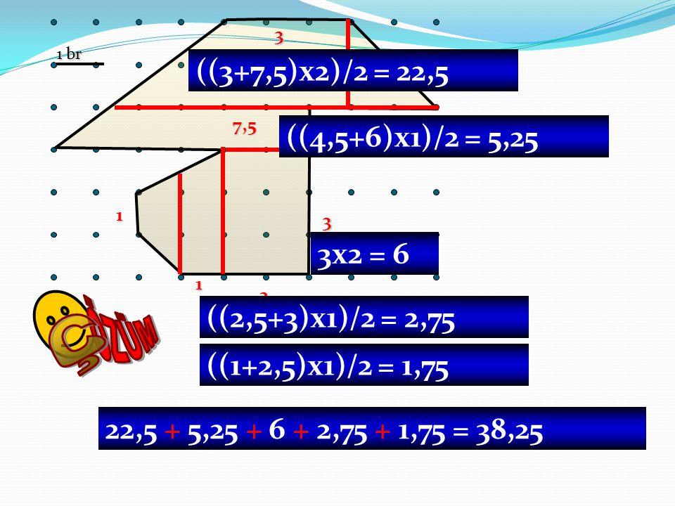 1 br 2 3 1 1 1 7,5 3 2 ((3+7,5)x2)/2 = 22,5 ((4,5+6)x1)/2 = 5,25 3x2 = 6 ((2,5+3)x1)/2 = 2,75 ((1+2,5)x1)/2 = 1,75 22,5 + 5,25 + 6 + 2,75 + 1,75 = 38,