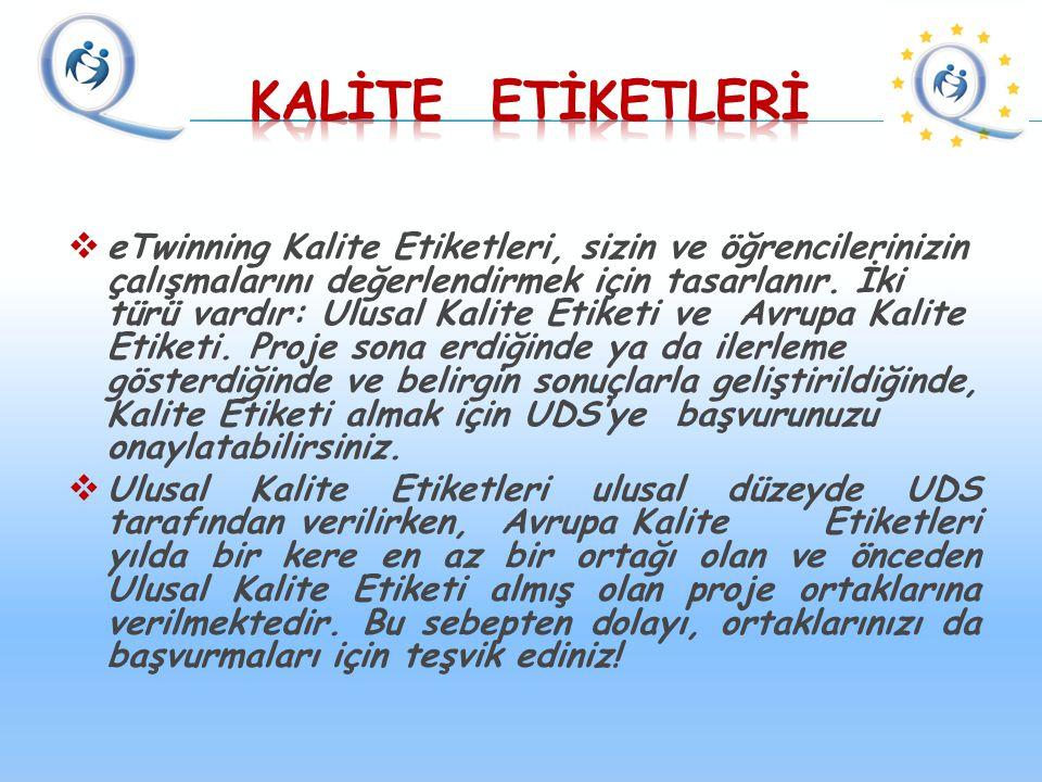  eTwinning Kalite Etiketleri, sizin ve öğrencilerinizin çalışmalarını değerlendirmek için tasarlanır.
