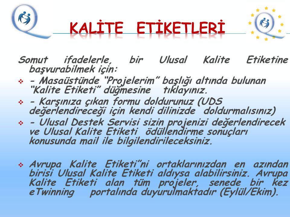 """Somut ifadelerle, bir Ulusal Kalite Etiketine başvurabilmek için:  - Masaüstünde """"Projelerim"""" başlığı altında bulunan """"Kalite Etiketi"""" düğmesine tıkl"""