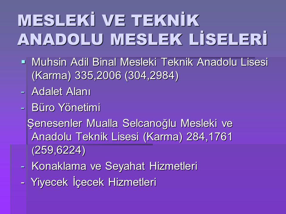 MESLEKİ VE TEKNİK ANADOLU MESLEK LİSELERİ  Muhsin Adil Binal Mesleki Teknik Anadolu Lisesi (Karma) 335,2006 (304,2984) -Adalet Alanı -Büro Yönetimi Ş