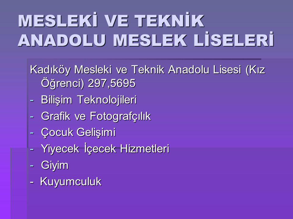 MESLEKİ VE TEKNİK ANADOLU MESLEK LİSELERİ Kadıköy Mesleki ve Teknik Anadolu Lisesi (Kız Öğrenci) 297,5695 -Bilişim Teknolojileri -Grafik ve Fotografçı
