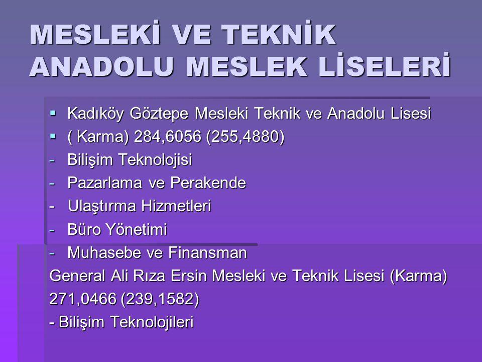 MESLEKİ VE TEKNİK ANADOLU MESLEK LİSELERİ  Kadıköy Göztepe Mesleki Teknik ve Anadolu Lisesi  ( Karma) 284,6056 (255,4880) -Bilişim Teknolojisi -Paza