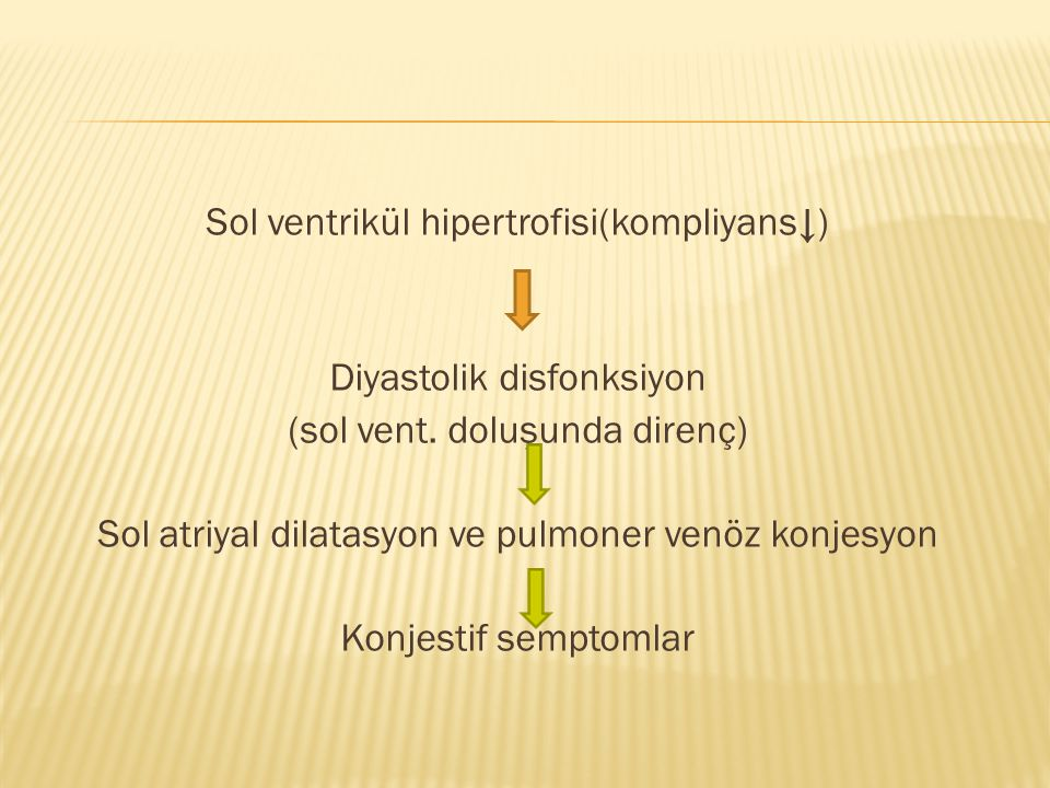 Sol ventrikül hipertrofisi(kompliyans↓) Diyastolik disfonksiyon (sol vent. doluşunda direnç) Sol atriyal dilatasyon ve pulmoner venöz konjesyon Konjes