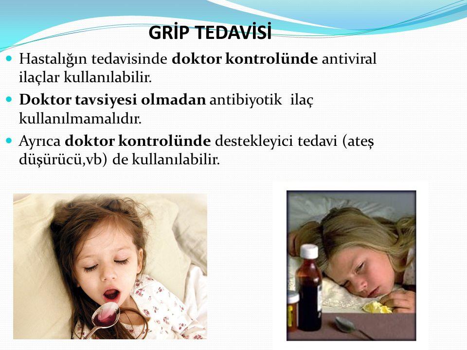 GRİP TEDAVİSİ Hastalığın tedavisinde doktor kontrolünde antiviral ilaçlar kullanılabilir. Doktor tavsiyesi olmadan antibiyotik ilaç kullanılmamalıdır.