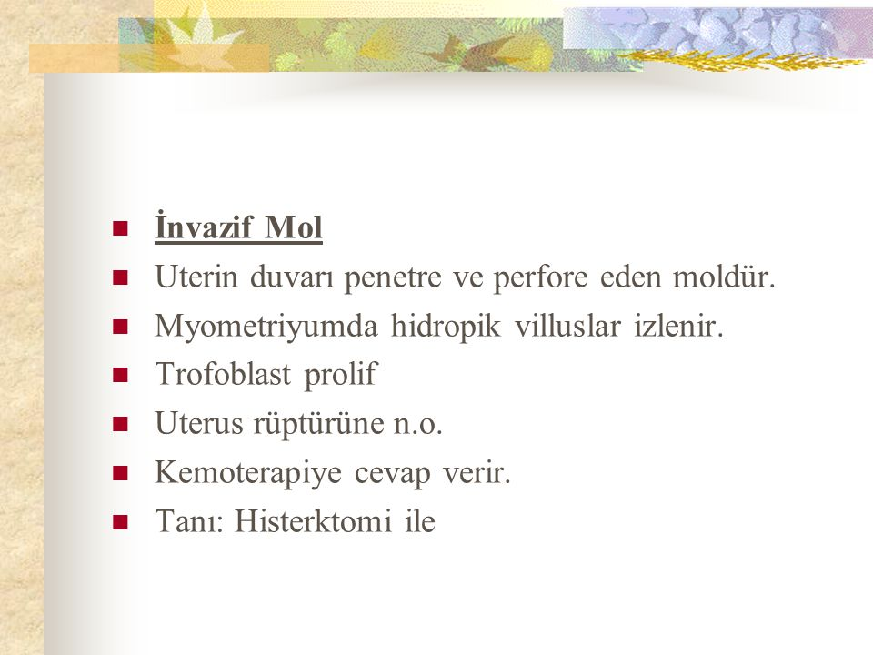 İnvazif Mol Uterin duvarı penetre ve perfore eden moldür.