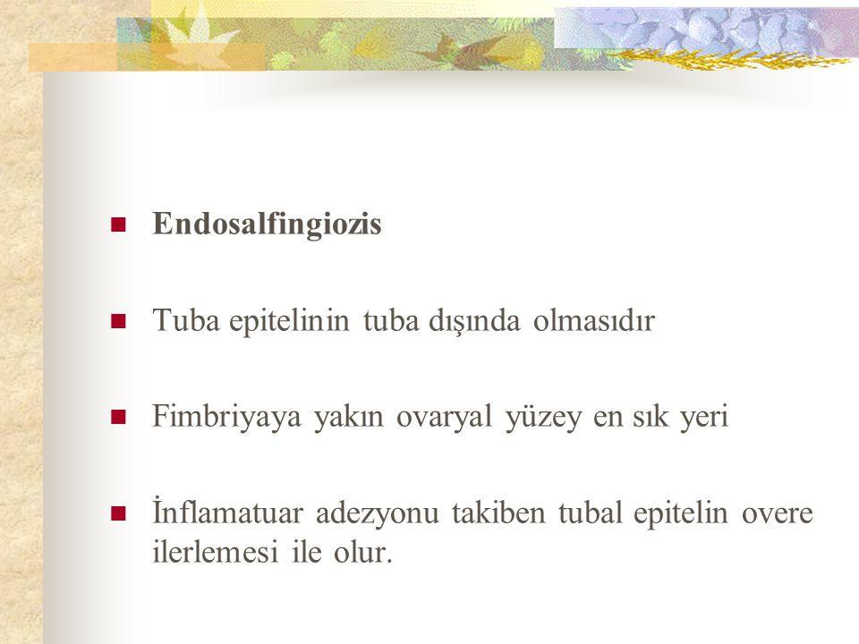 Endosalfingiozis Tuba epitelinin tuba dışında olmasıdır Fimbriyaya yakın ovaryal yüzey en sık yeri İnflamatuar adezyonu takiben tubal epitelin overe i