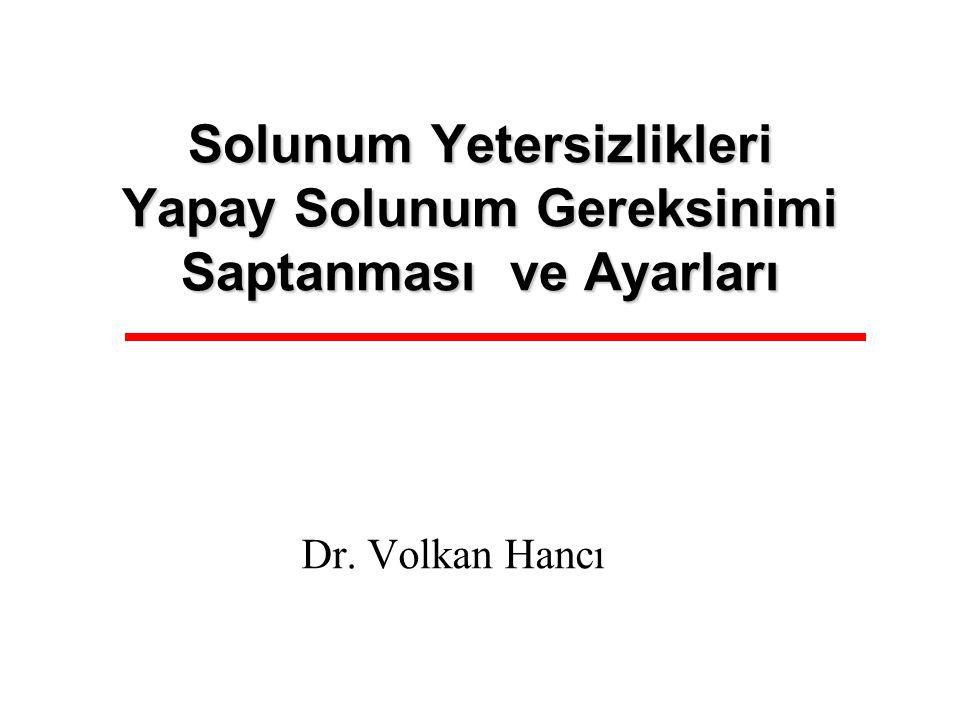 Solunum Yetersizlikleri Yapay Solunum Gereksinimi Saptanması ve Ayarları Dr. Volkan Hancı