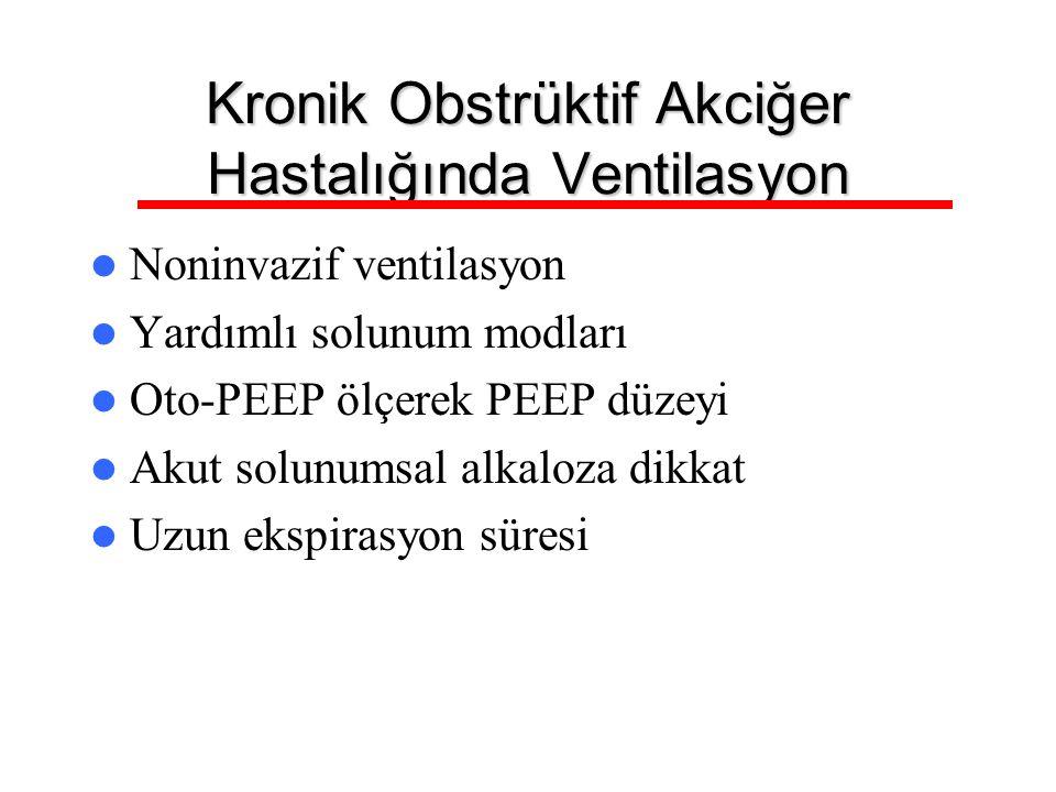 Kronik Obstrüktif Akciğer Hastalığında Ventilasyon Noninvazif ventilasyon Yardımlı solunum modları Oto-PEEP ölçerek PEEP düzeyi Akut solunumsal alkalo