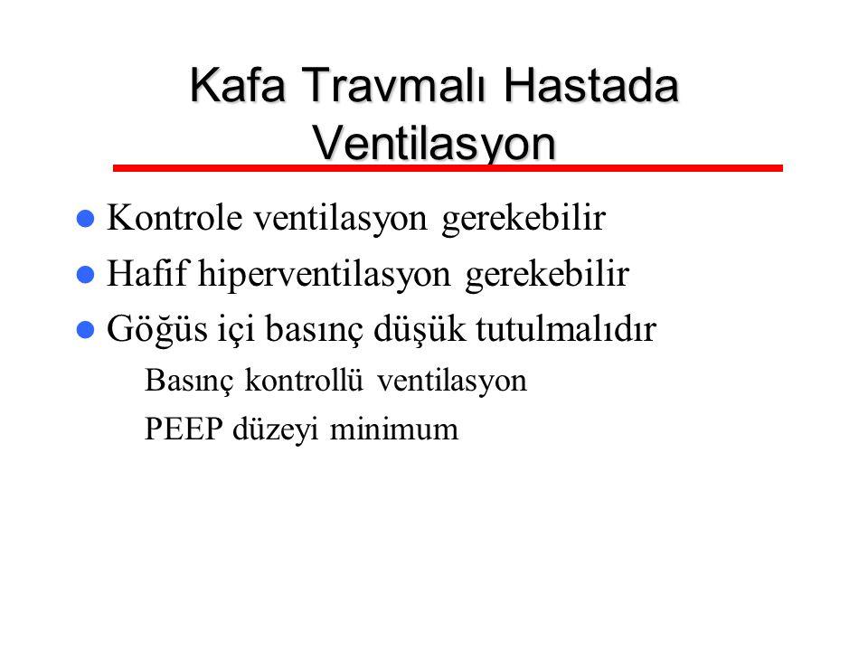 Kafa Travmalı Hastada Ventilasyon Kontrole ventilasyon gerekebilir Hafif hiperventilasyon gerekebilir Göğüs içi basınç düşük tutulmalıdır – Basınç kon