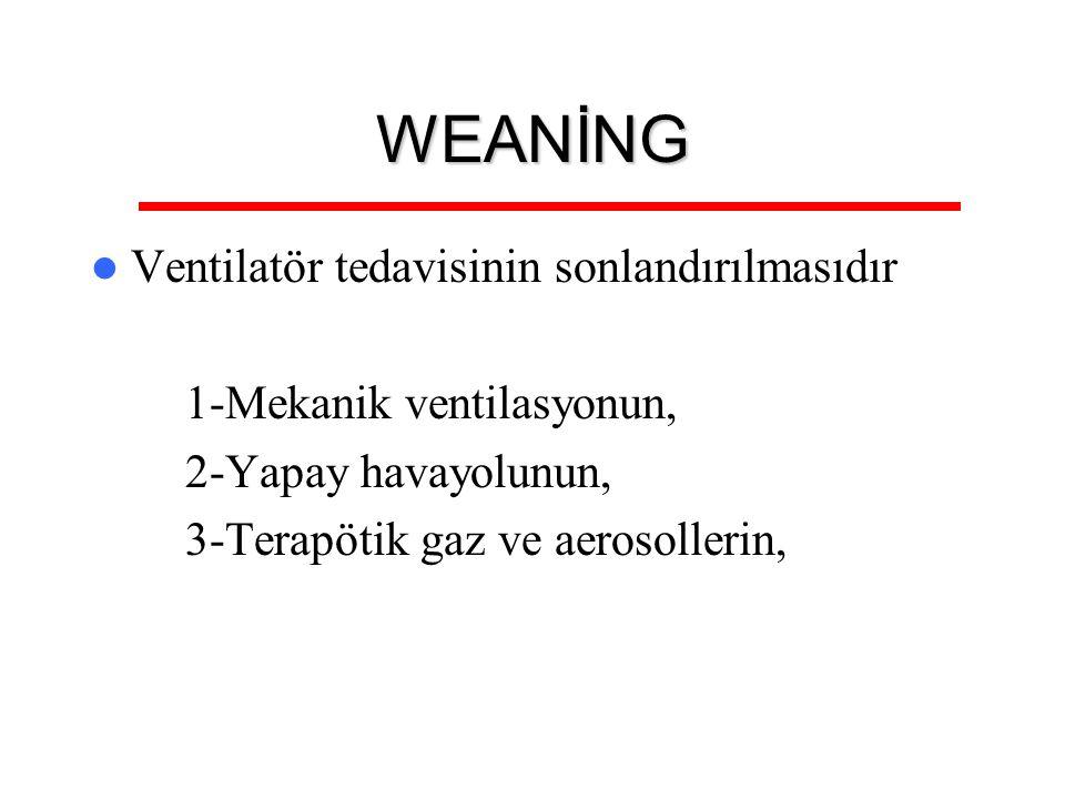WEANİNG Ventilatör tedavisinin sonlandırılmasıdır 1-Mekanik ventilasyonun, 2-Yapay havayolunun, 3-Terapötik gaz ve aerosollerin,