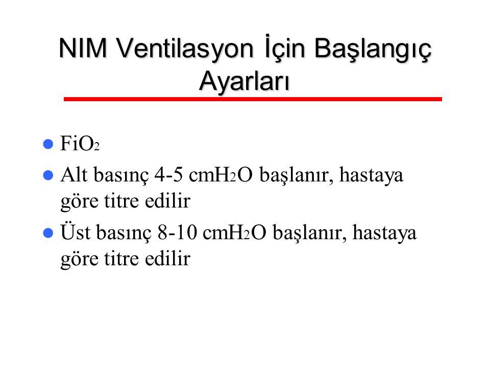 NIM Ventilasyon İçin Başlangıç Ayarları FiO 2 Alt basınç 4-5 cmH 2 O başlanır, hastaya göre titre edilir Üst basınç 8-10 cmH 2 O başlanır, hastaya gör