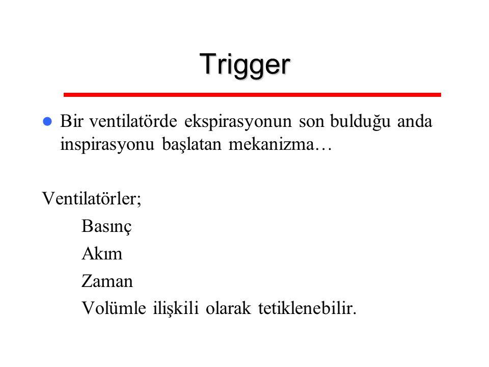 Trigger Bir ventilatörde ekspirasyonun son bulduğu anda inspirasyonu başlatan mekanizma… Ventilatörler; – Basınç – Akım – Zaman – Volümle ilişkili ola