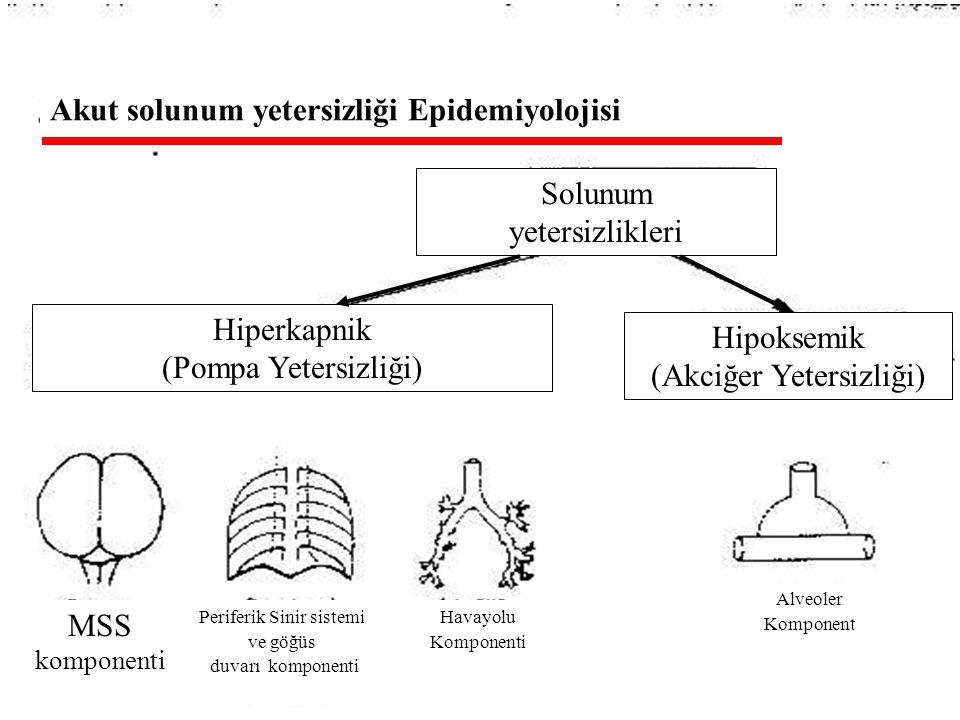 Solunum yetersizlikleri Hiperkapnik (Pompa Yetersizliği) MSS komponenti Periferik Sinir sistemi ve göğüs duvarı komponenti Havayolu Komponenti Alveole