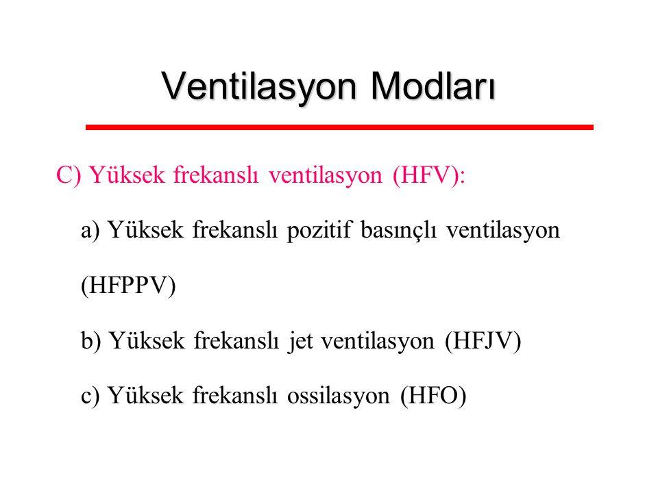 Ventilasyon Modları C) Yüksek frekanslı ventilasyon (HFV): a) Yüksek frekanslı pozitif basınçlı ventilasyon (HFPPV) b) Yüksek frekanslı jet ventilasyo