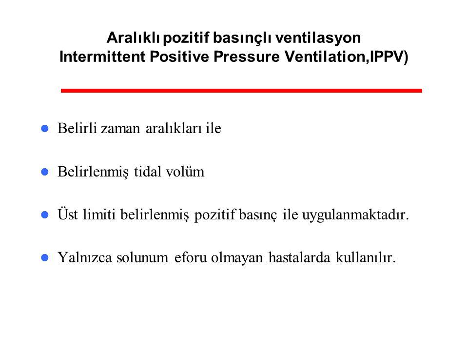 Aralıklı pozitif basınçlı ventilasyon Intermittent Positive Pressure Ventilation,IPPV) Belirli zaman aralıkları ile Belirlenmiş tidal volüm Üst limiti