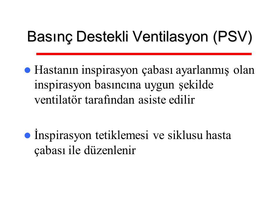 Basınç Destekli Ventilasyon (PSV) Hastanın inspirasyon çabası ayarlanmış olan inspirasyon basıncına uygun şekilde ventilatör tarafından asiste edilir