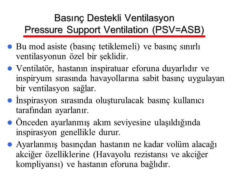 Basınç Destekli Ventilasyon Pressure Support Ventilation (PSV=ASB) Bu mod asiste (basınç tetiklemeli) ve basınç sınırlı ventilasyonun özel bir şeklidi