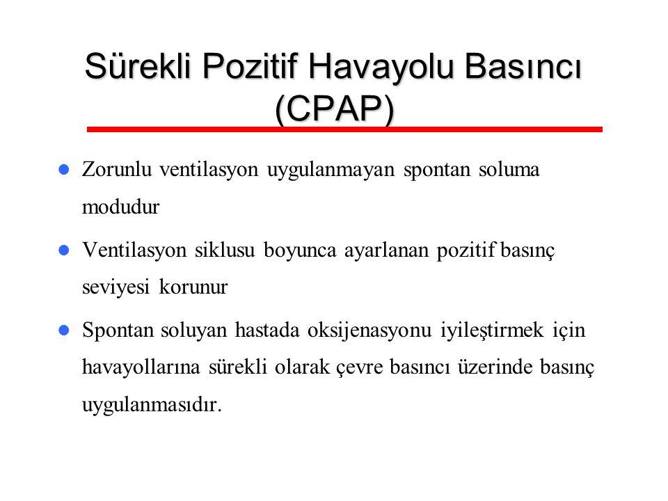 Sürekli Pozitif Havayolu Basıncı (CPAP) Zorunlu ventilasyon uygulanmayan spontan soluma modudur Ventilasyon siklusu boyunca ayarlanan pozitif basınç s