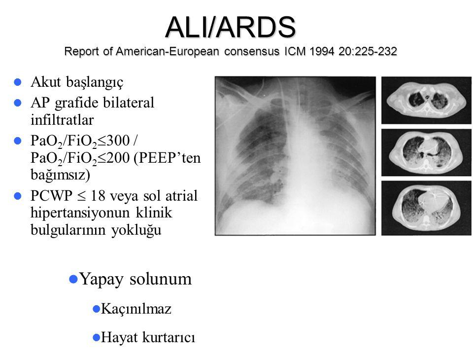 ALI/ARDS Report of American-European consensus ICM 1994 20:225-232 Akut başlangıç AP grafide bilateral infiltratlar PaO 2 /FiO 2  300 / PaO 2 /FiO 2