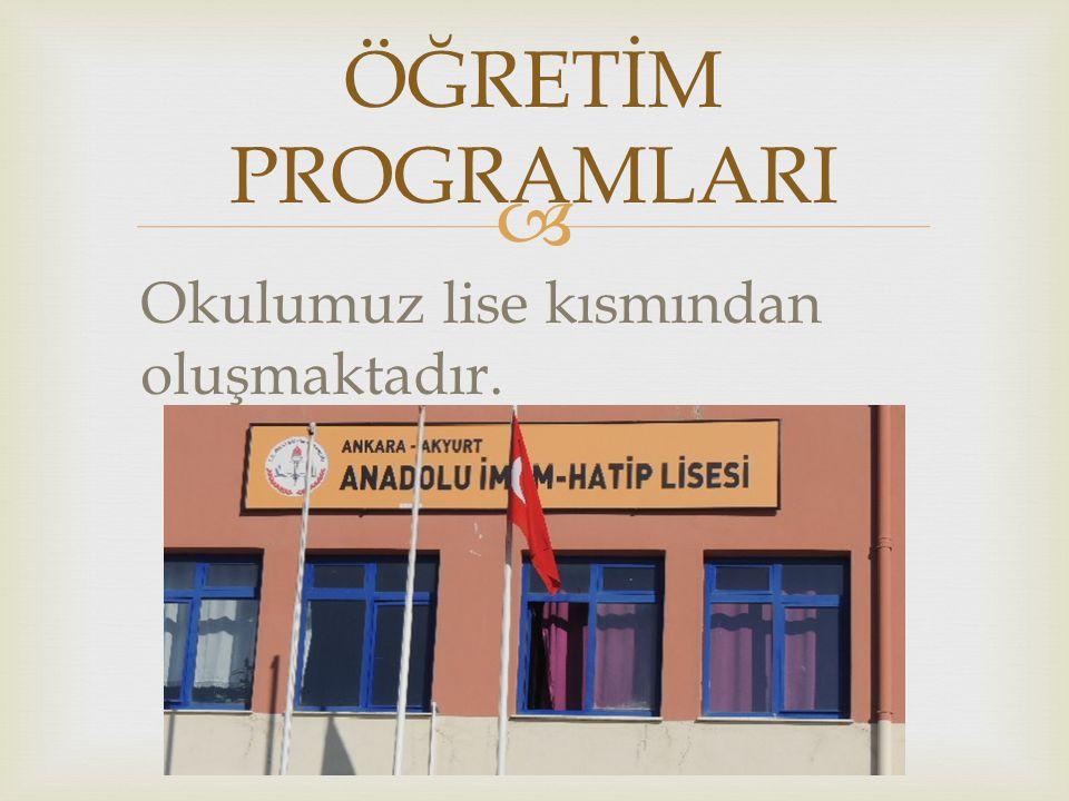  9.sınıfları;  Teog sınavı ile yerleşen Anadolu İmam Hatip ve  Daha önceki yıllarda puansız öğrenci alan imam hatip olmak üzere 2 bölümden oluşmaktadır.