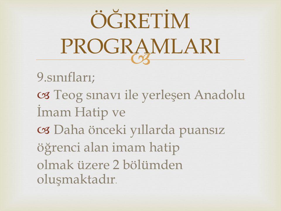  9.sınıfları;  Teog sınavı ile yerleşen Anadolu İmam Hatip ve  Daha önceki yıllarda puansız öğrenci alan imam hatip olmak üzere 2 bölümden oluşmakt