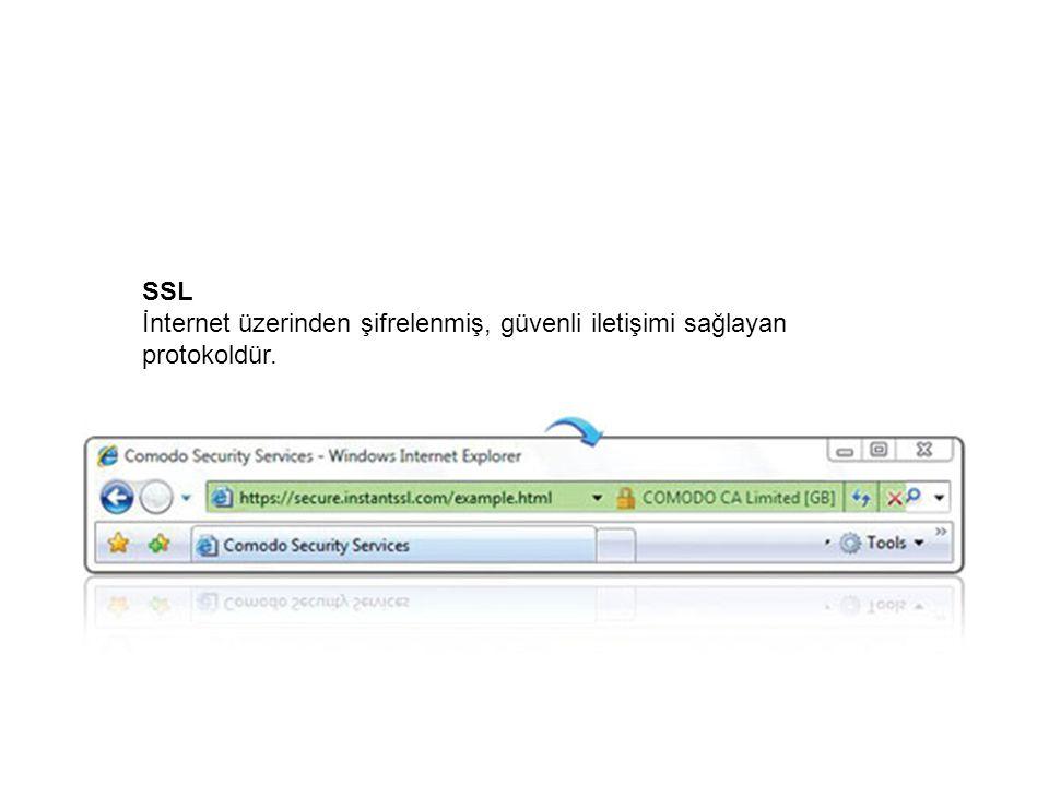 SSL İnternet üzerinden şifrelenmiş, güvenli iletişimi sağlayan protokoldür.