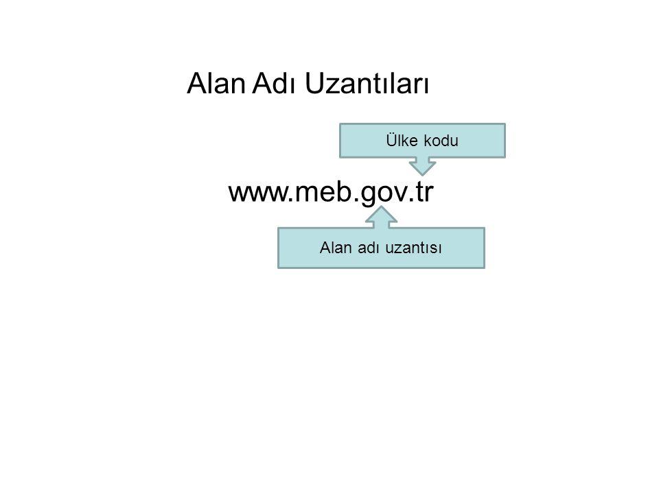 Alan Adı Uzantıları www.meb.gov.tr Ülke kodu Alan adı uzantısı