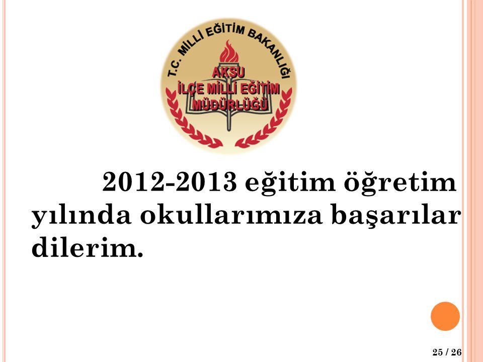 25 / 26 2012-2013 eğitim öğretim yılında okullarımıza başarılar dilerim.