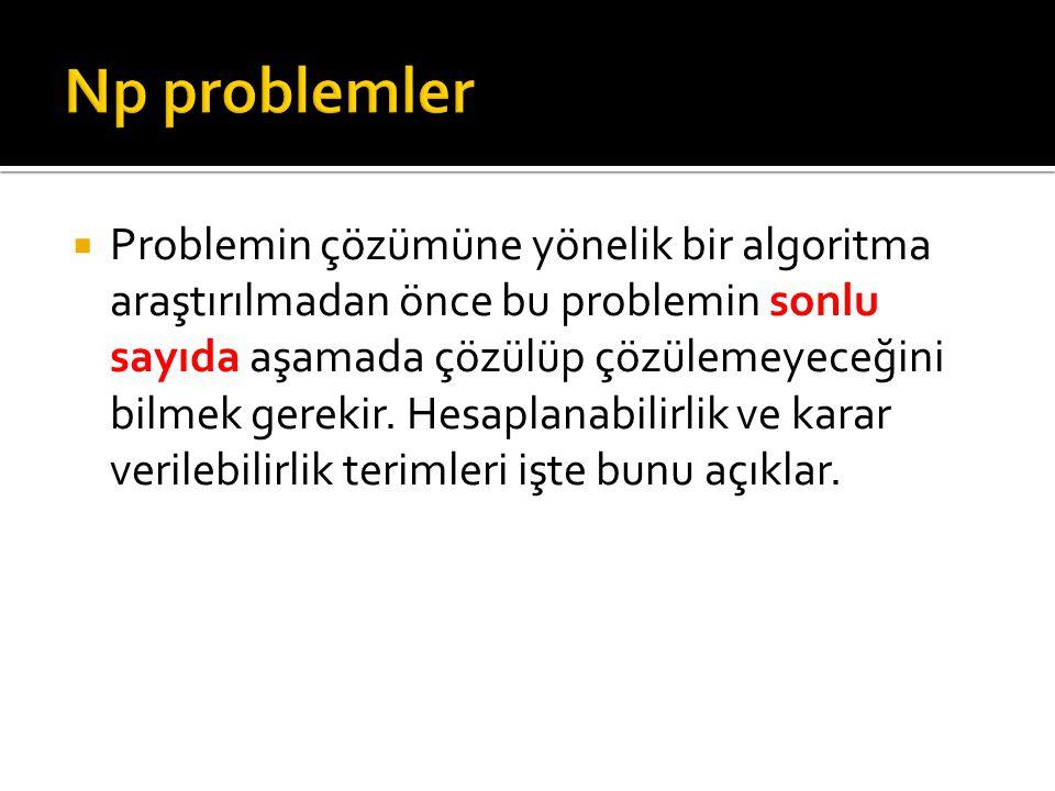  Polinomial zaman içerisinde deterministik olmayan makinelerde çözülebilen her algoritma deterministik olmayan polinomial algoritma olarak ele alınacaktır ve bu problemler NP sınıfını oluşturacaktır.
