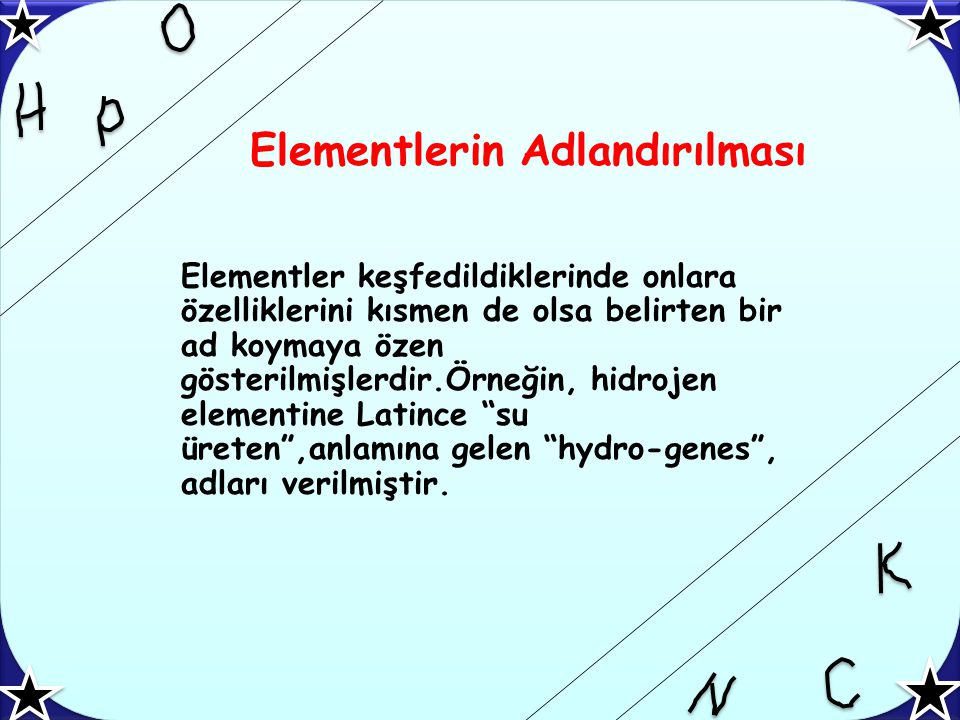 Bazı element adı ve sembolleri Elementin Numarası Elementin Adı Sembo l 1HidrojenH 2HelyumHe 3LityumLi 4BerilyumBe 5BorB 6KarbonC 7AzotN 8OksijenO 9FlorF 10NeonNe Elementin Numarası Elementin AdıSembol 11SodyumNa 12MagnezyumMg 13AlüminyumAl 14SilisyumSi 15FosforP 16KükürtS 17KlorCl 18ArgonAr 19PotasyumK 20KalsiyumCa