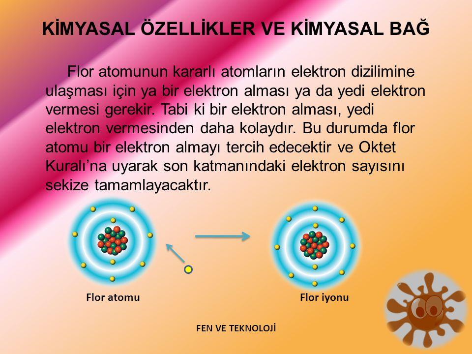 KİMYASAL ÖZELLİKLER VE KİMYASAL BAĞ Flor atomunun kararlı atomların elektron dizilimine ulaşması için ya bir elektron alması ya da yedi elektron verme