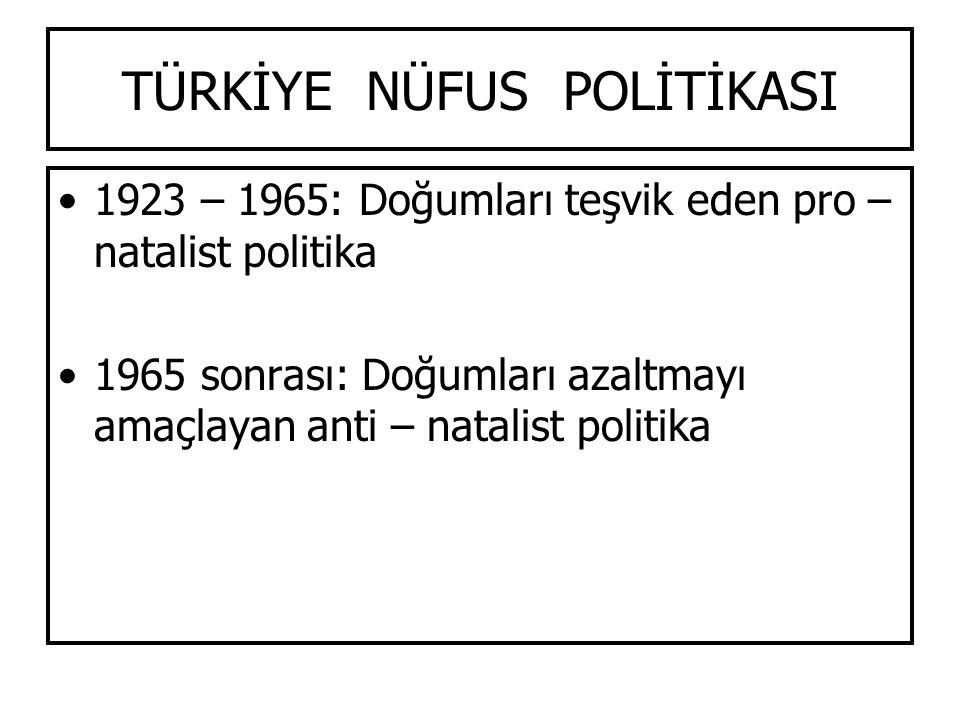 TÜRKİYE NÜFUS POLİTİKASI 1923 – 1965: Doğumları teşvik eden pro – natalist politika 1965 sonrası: Doğumları azaltmayı amaçlayan anti – natalist politi