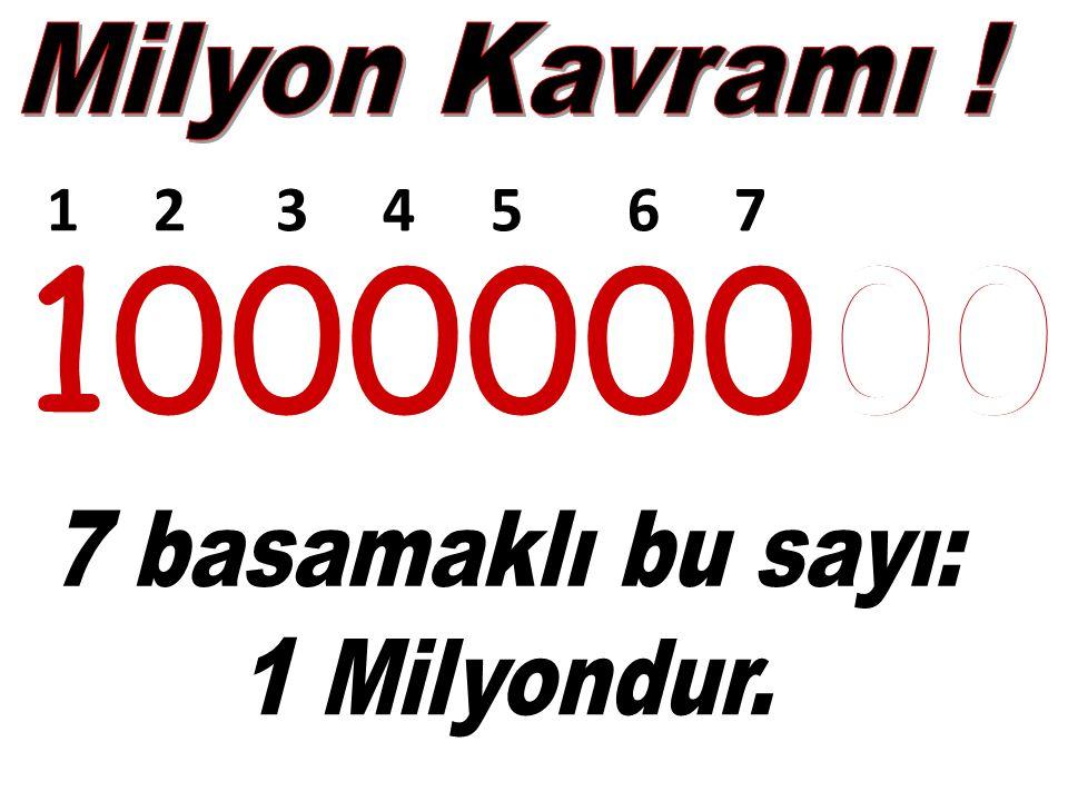 7, 8 ve 9 Basamaklı sayılarla birlikte MİLYONLAR basamakları ile tanışmış oluyoruz.