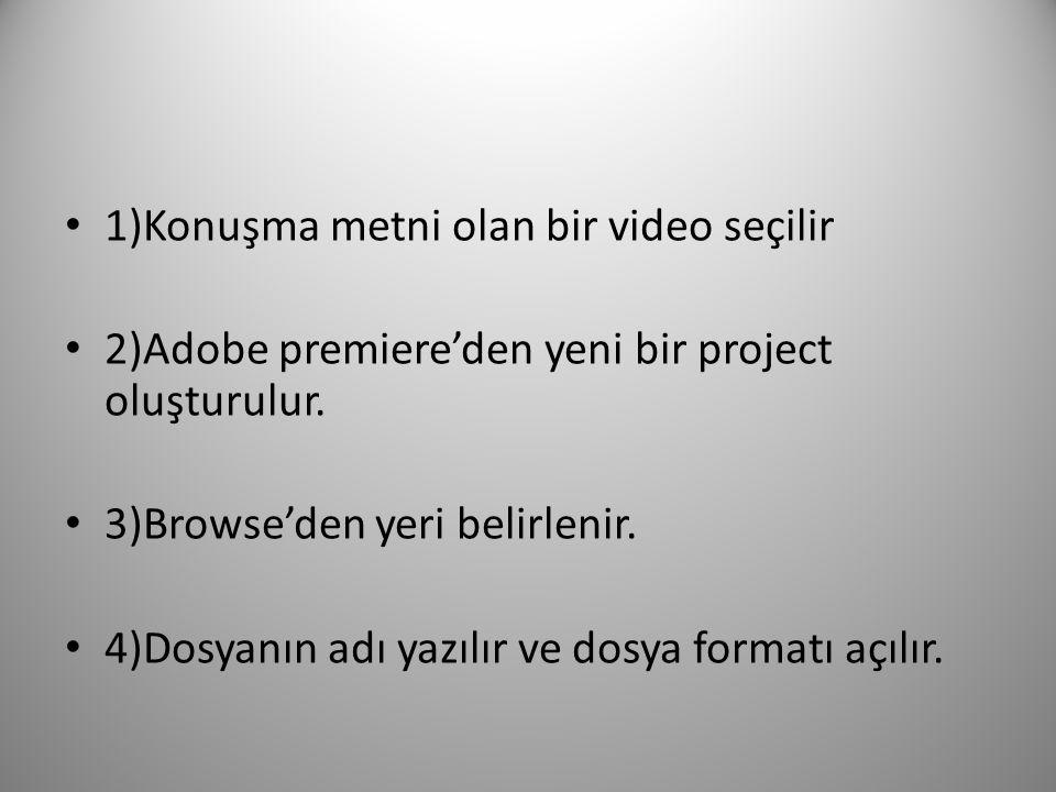 1)Konuşma metni olan bir video seçilir 2)Adobe premiere'den yeni bir project oluşturulur. 3)Browse'den yeri belirlenir. 4)Dosyanın adı yazılır ve dosy