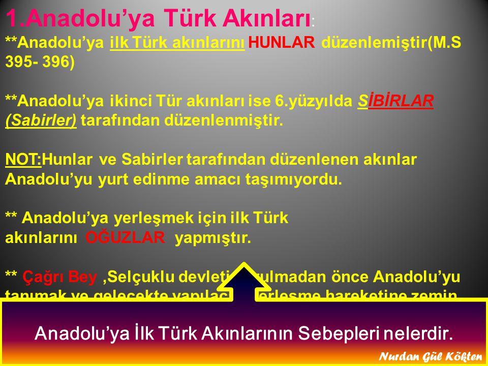1.Anadolu'ya Türk Akınları : **Anadolu'ya ilk Türk akınlarını HUNLAR düzenlemiştir(M.S 395- 396) **Anadolu'ya ikinci Tür akınları ise 6.yüzyılda SİBİRLAR (Sabirler) tarafından düzenlenmiştir.