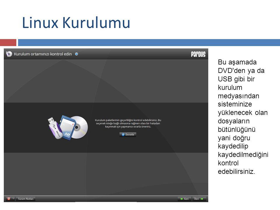 Linux Kurulumu Bu aşamada DVD den ya da USB gibi bir kurulum medyasından sisteminize yüklenecek olan dosyaların bütünlüğünü yani doğru kaydedilip kaydedilmediğini kontrol edebilirsiniz.