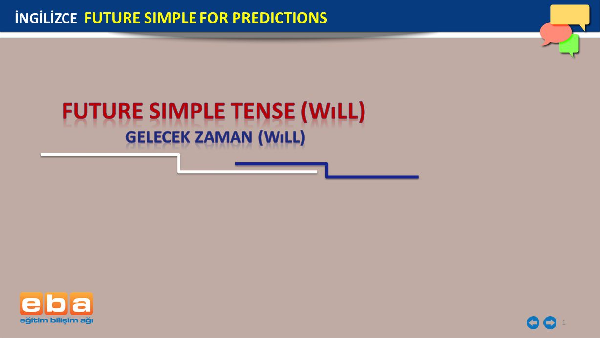 1 İNGİLİZCE FUTURE SIMPLE FOR PREDICTIONS
