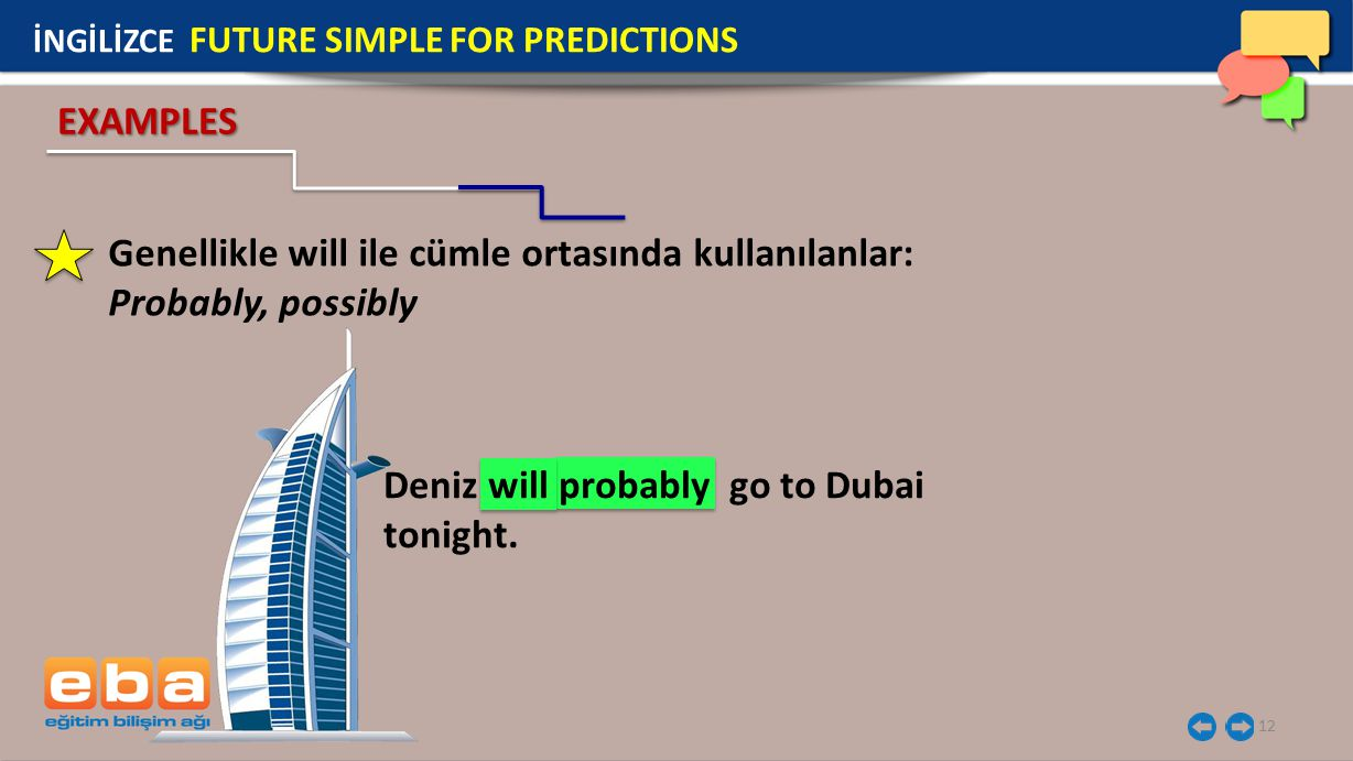 12 Deniz will probably go to Dubai tonight.
