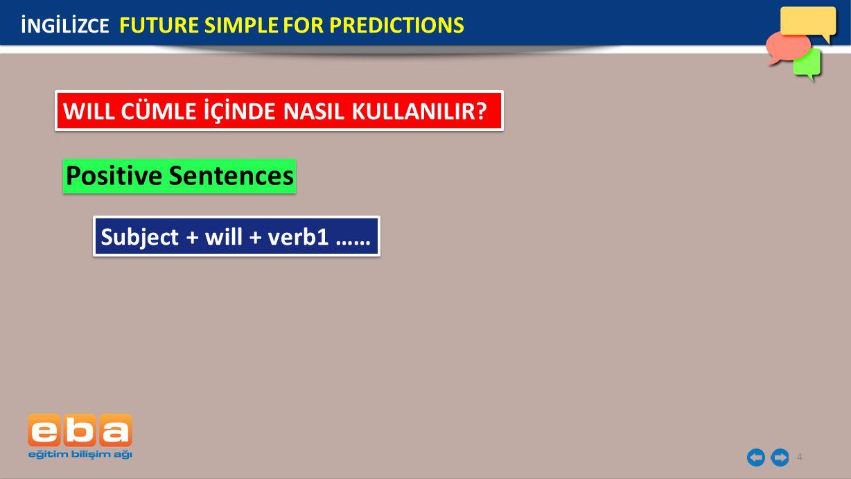 15 İNGİLİZCE FUTURE SIMPLE FOR PREDICTIONS