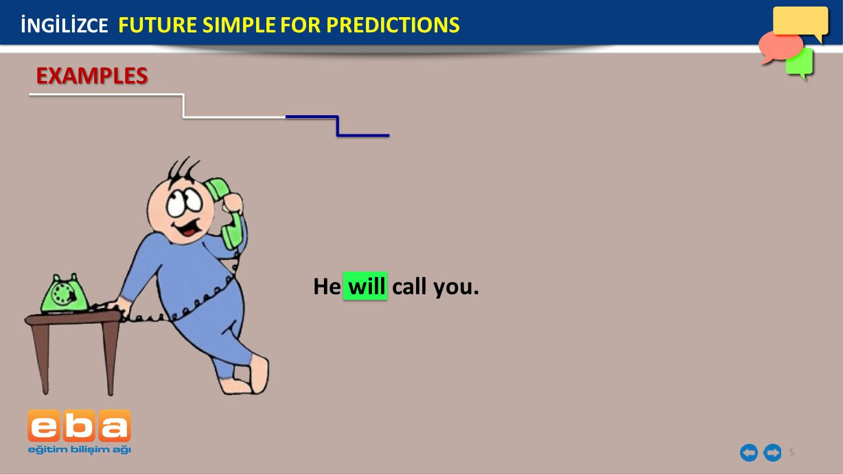5 He will call you. EXAMPLES İNGİLİZCE FUTURE SIMPLE FOR PREDICTIONS