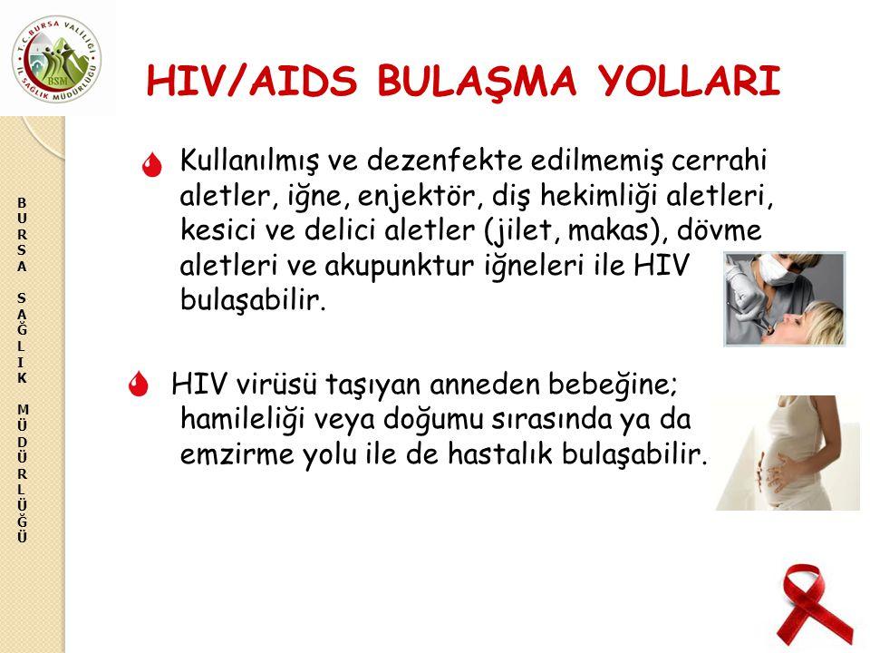 BURSASAĞLIKMÜDÜRLÜĞÜBURSASAĞLIKMÜDÜRLÜĞÜ HIV/AIDS BULAŞMA YOLLARI Kullanılmış ve dezenfekte edilmemiş cerrahi aletler, iğne, enjektör, diş hekimliği a