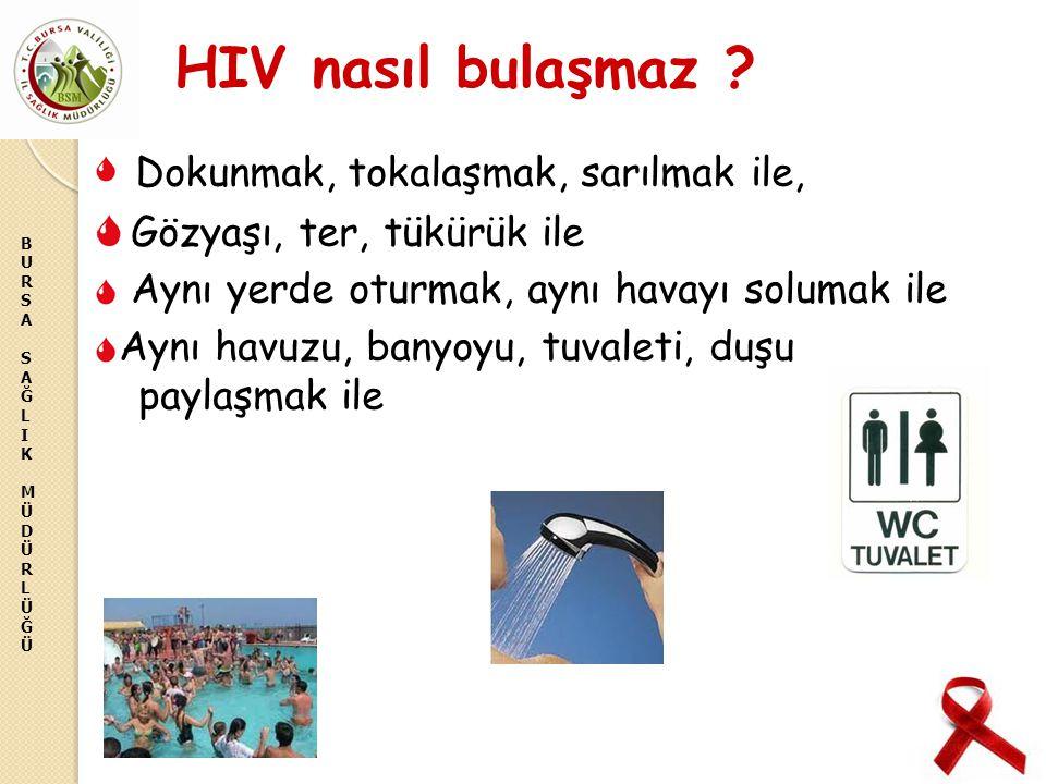 BURSASAĞLIKMÜDÜRLÜĞÜBURSASAĞLIKMÜDÜRLÜĞÜ HIV nasıl bulaşmaz ? Dokunmak, tokalaşmak, sarılmak ile, Gözyaşı, ter, tükürük ile Aynı yerde oturmak, aynı h
